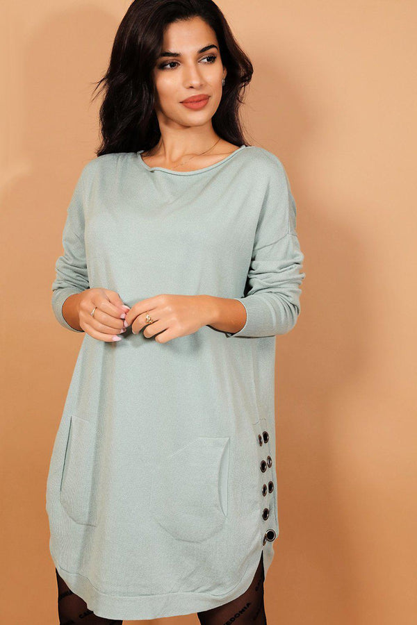 Mint Eyelet Side Details Moon Hem Flat Knit Dress-SinglePrice