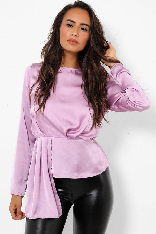 Front Pleated Detail Lilac Satin Top