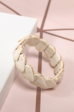 White Turquoise Hearts Stretch Bracelet - SinglePrice