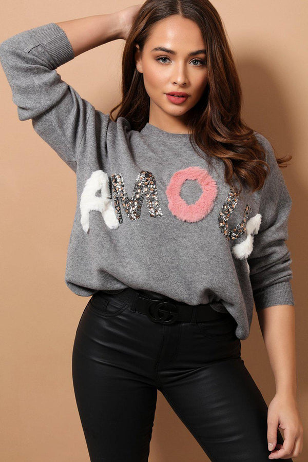 Amour Embellished Grey Pullover - SinglePrice