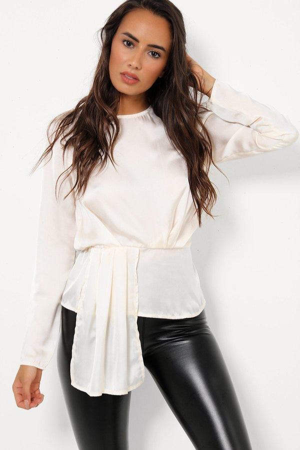 Front Pleated Detail Cream Satin Top