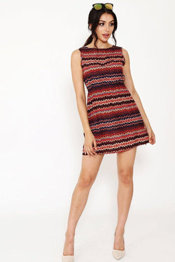 Zig Zag Print Red Shift Dress-SinglePrice