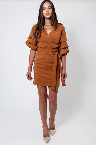 Brown Frill Sleeve Wrap Dress-SinglePrice