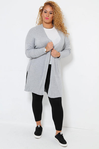 Side Splits Open Front Ribbed Knit Grey Cardigan-SinglePrice