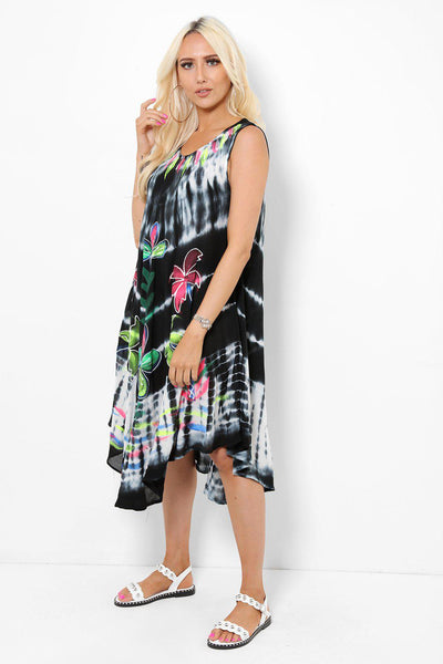 Embroidered Tie Dye Black Summer Dress-SinglePrice
