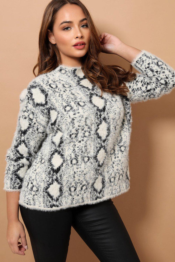 Python Print Fluffy Knit High Neck Jumper - SinglePrice