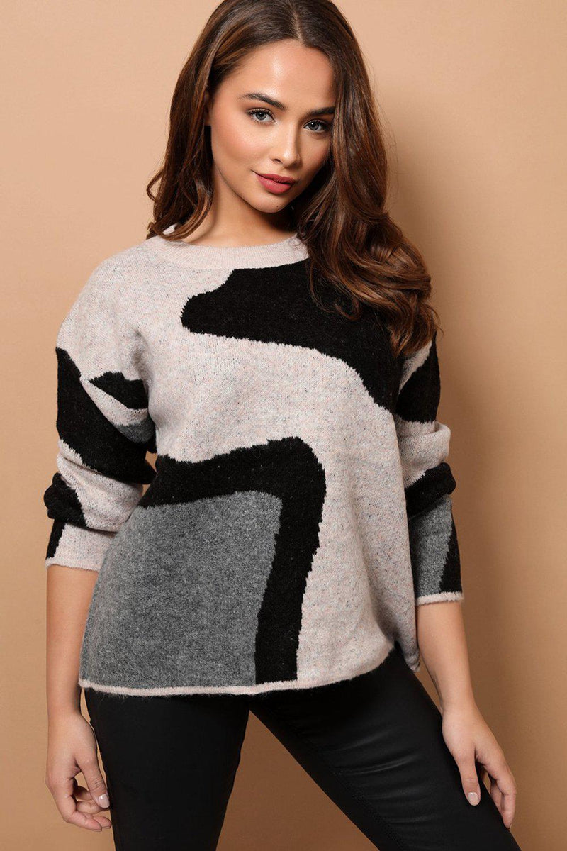 Colourblock Soft Knit Relaxed Fit Jumper - SinglePrice