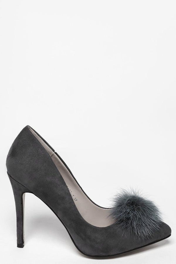 Faux Fur Pom Pom Grey High Heels - SinglePrice