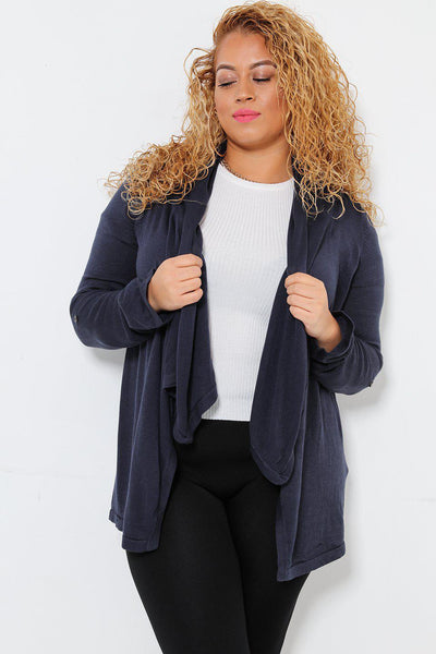 Layered Waterfall Neckline Navy Cardigan-SinglePrice