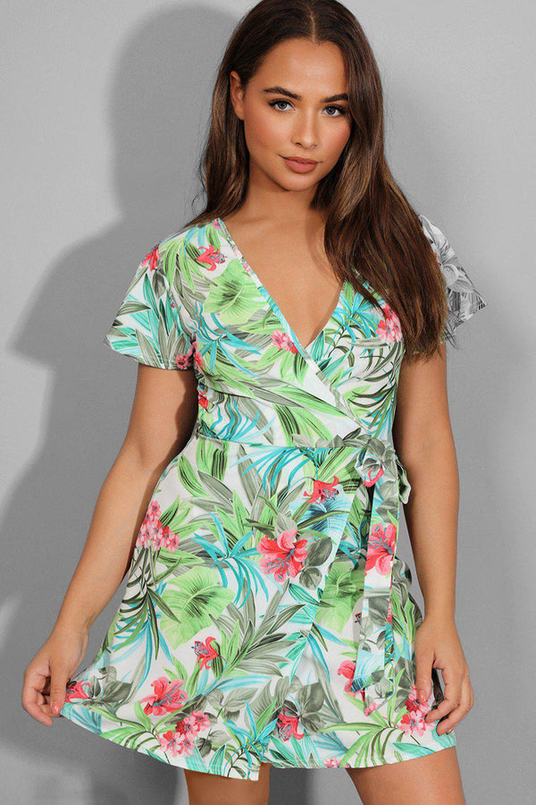 White Exotic Floral Print Wrap Summer Dress - SinglePrice