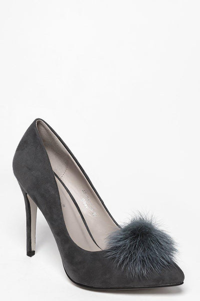 Faux Fur Pom Pom Grey High Heels-SinglePrice