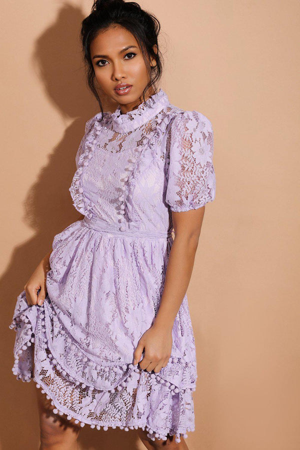 Lilac Pom Pom Trims Layered Delicate Lace Dress - SinglePrice