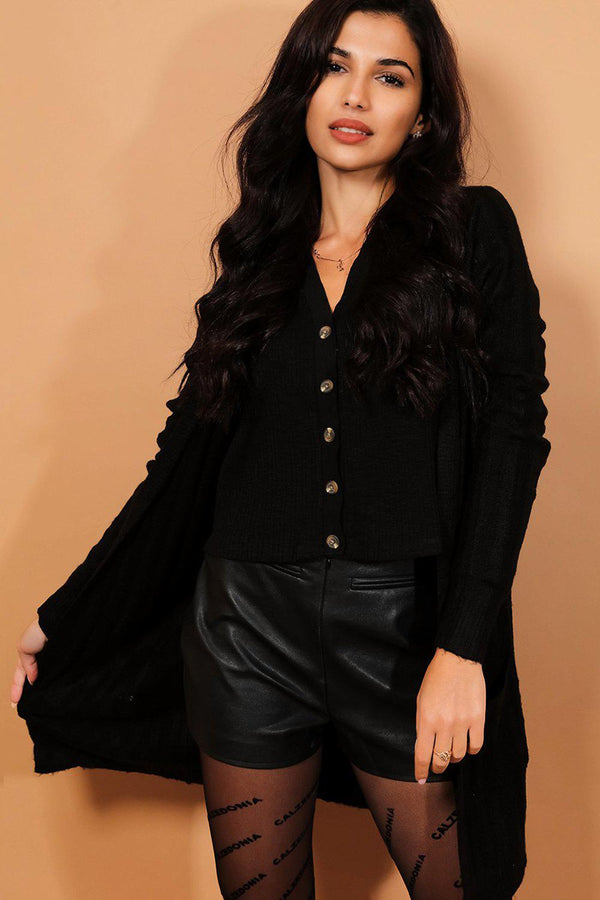 Black Fine Ribbed Knit Open Front Cardigan-SinglePrice