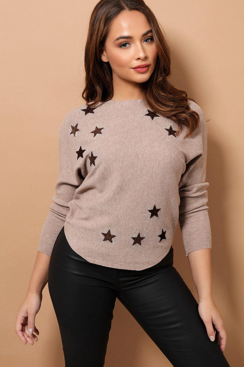 Taupe Crystal Stars Embellished Soft Knit Pullover - SinglePrice