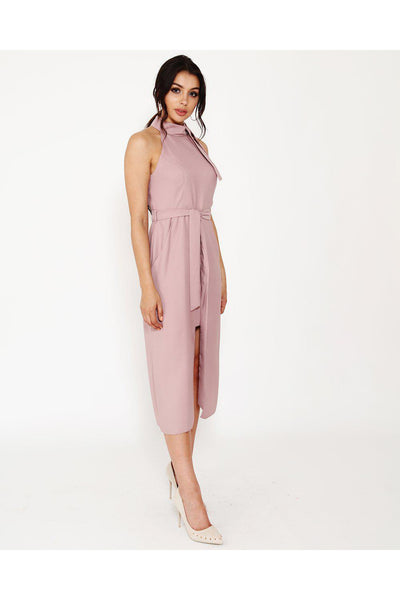 Pink Front Split Belted Halterneck Dress-SinglePrice