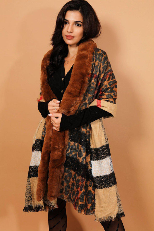 Brown Faux Fur Trims Reversible Leopard Print Shawl