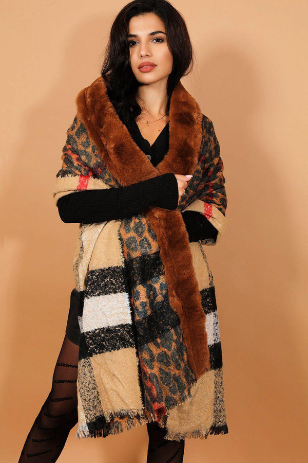 Brown Faux Fur Trims Reversible Leopard Print Shawl - SinglePrice