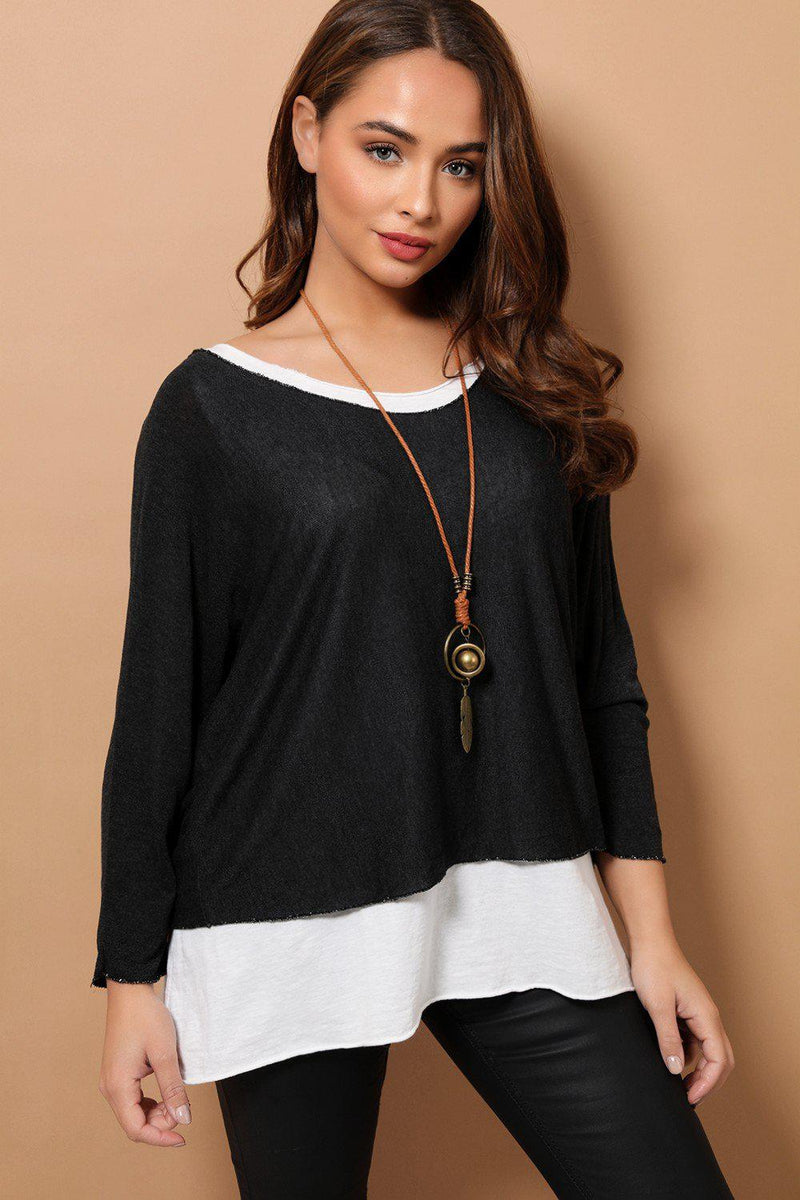 Black Boho Style 2 in 1 Viscose Top With Necklace - SinglePrice