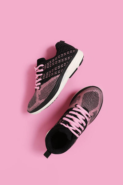 Elastic Stitch Effect Pink Trainers-SinglePrice