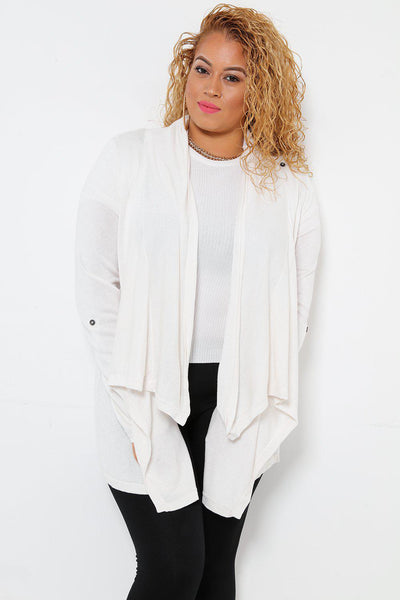 Layered Waterfall Neckline White Cardigan-SinglePrice