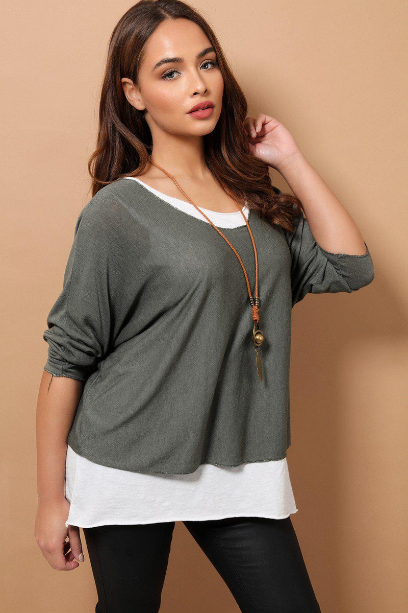 Khaki Boho Style 2 in 1 Viscose Top With Necklace - SinglePrice