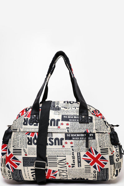 Newspaper Print Nylon Large Travel Bag-SinglePrice