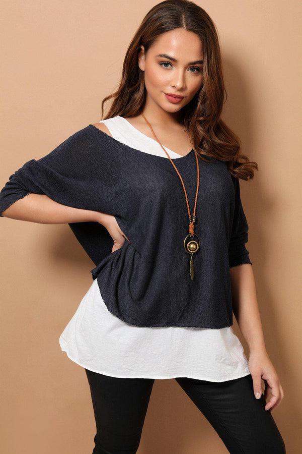 Navy Boho Style 2 in 1 Viscose Top With Necklace-SinglePrice