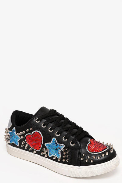 Sequinned And Studded Black Trainers-SinglePrice