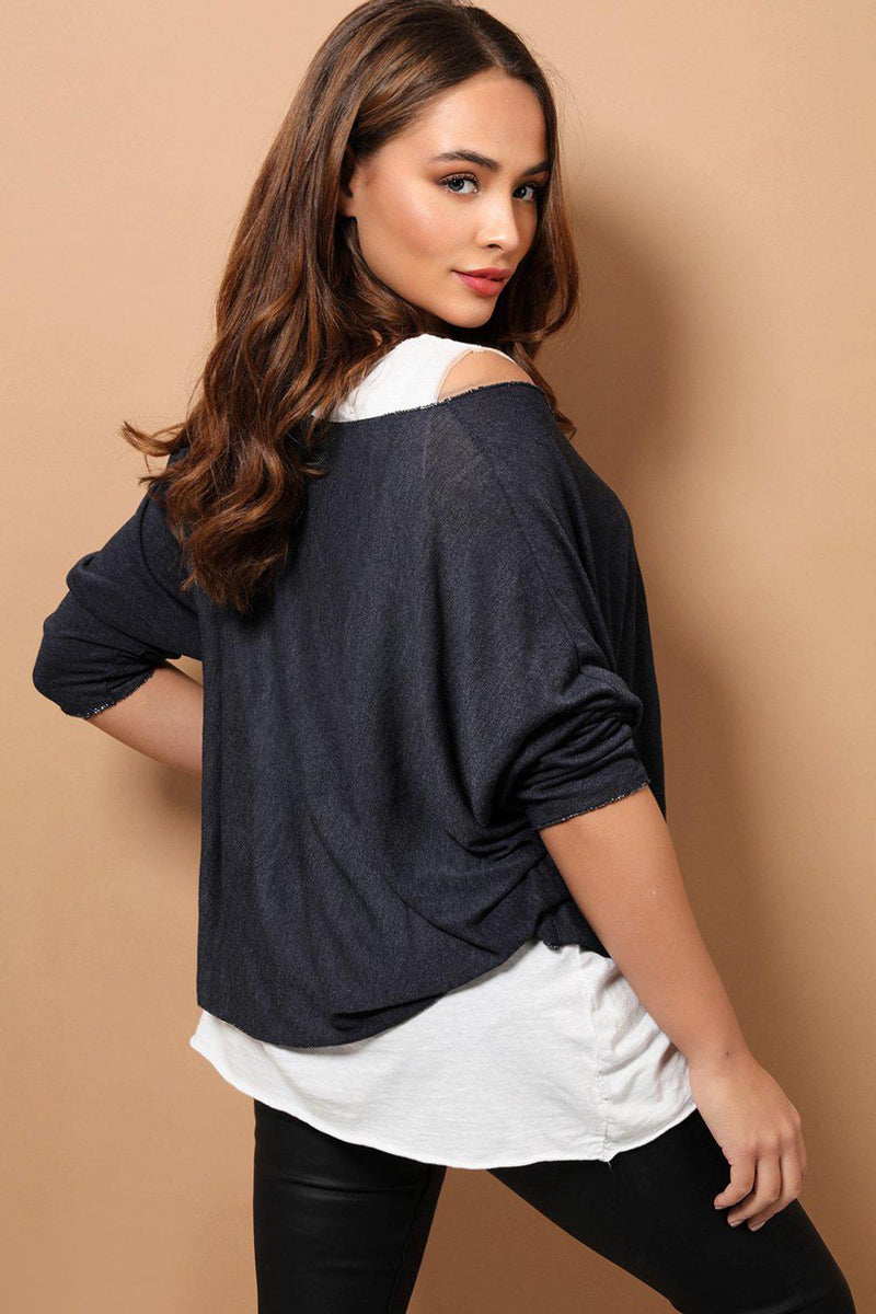 Navy Boho Style 2 in 1 Viscose Top With Necklace - SinglePrice