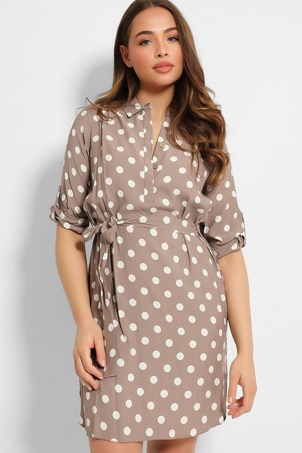 Taupe Polka Dot Roll Up Sleeves Shirt Dress - SinglePrice
