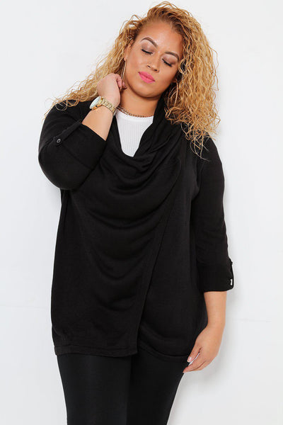 Layered Waterfall Neckline Black Cardigan-SinglePrice