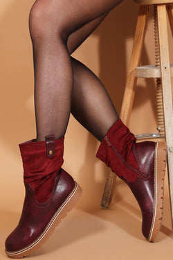 Wine Red Mixed Textures Classic Ankle Boots - SinglePrice