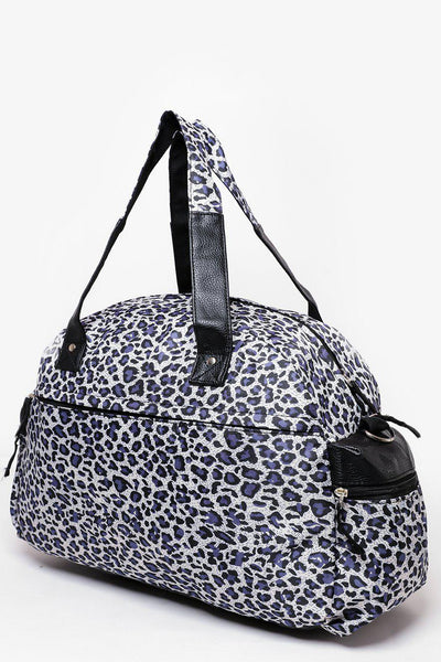 Navy Leopard Print Nylon Large Travel Bag-SinglePrice