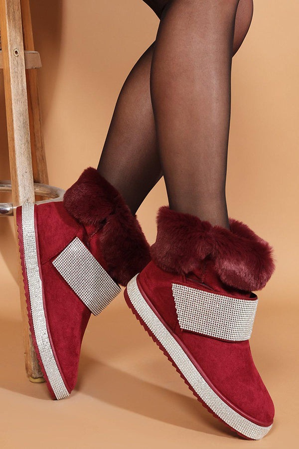 Burgundy Crystals Embellished Panels Faux Fur Warm Boots - SinglePrice