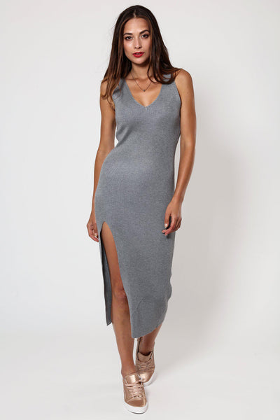 Grey Knitted V-Neck Ribbed Dress-SinglePrice