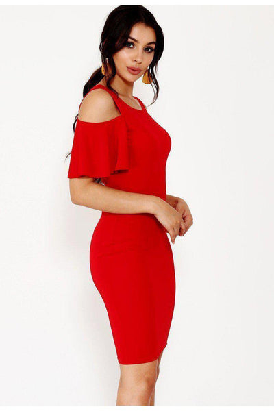 Red Cold Shoulder Frill Sleeve Dress-SinglePrice