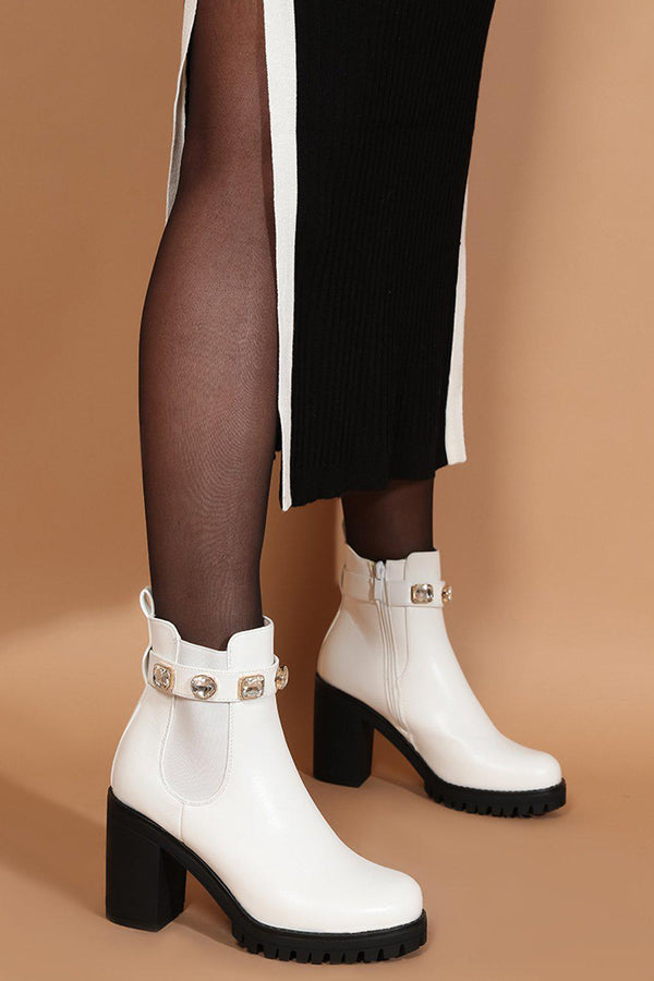 White Vegan Leather Large Jewells Embellished Block Heel Boots - SinglePrice