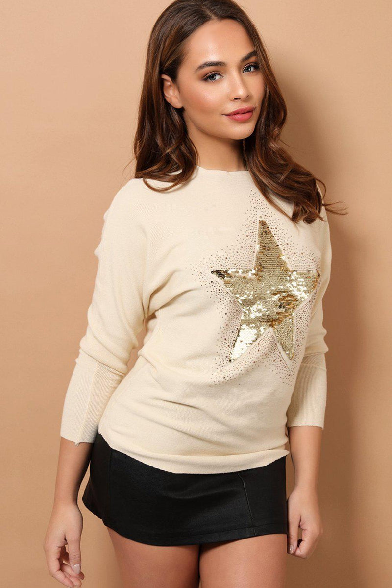 Beige Sequined Star Front Detail Soft Knit Jumper - SinglePrice