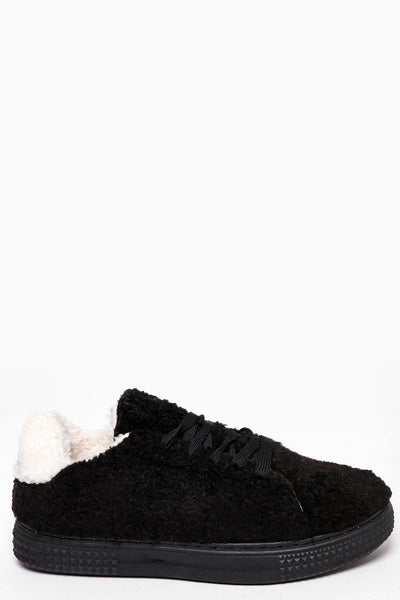 Black Faux Shearling Trainers-SinglePrice