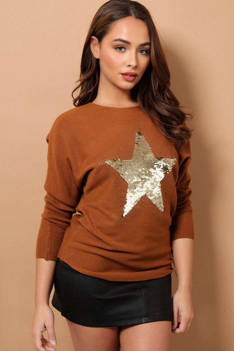 Brown Sequined Star Front Detail Soft Knit Jumper - SinglePrice