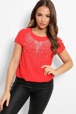 Red Crystals Embellished Cut out Details Top - SinglePrice
