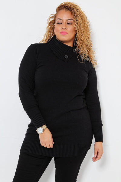 Buttoned Turtle Neck Black Knitted Dress-SinglePrice