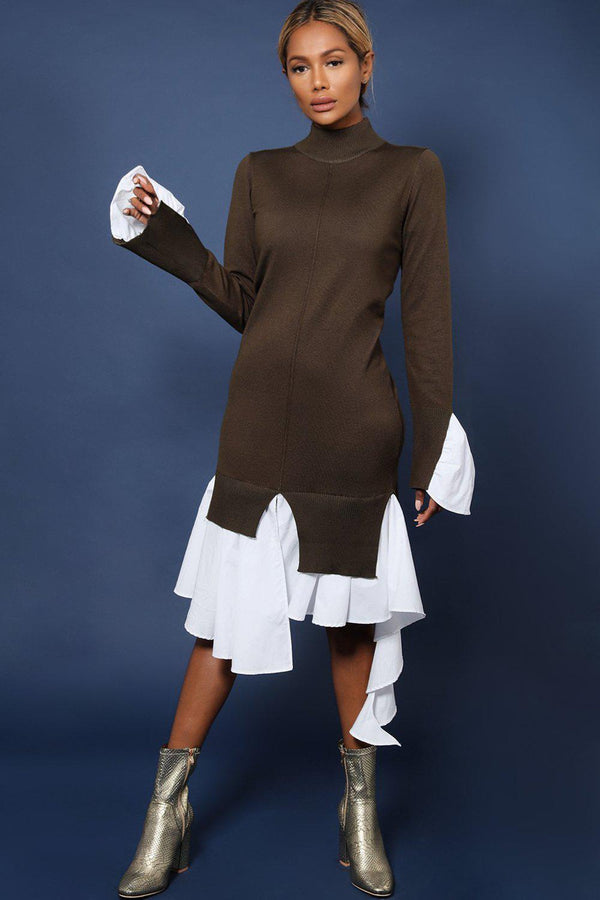 Khaki High Neck Shirt Hem Knitted Midi Dress - SinglePrice