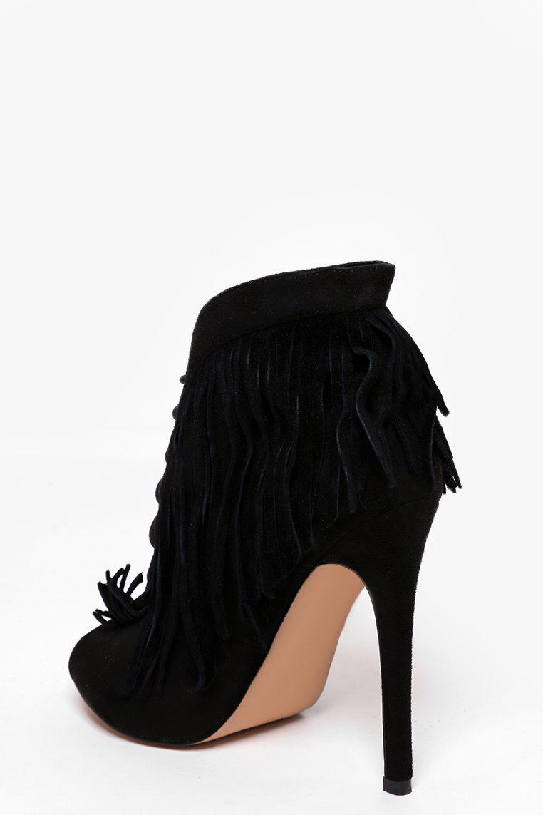 Black Peep-Toe Fringed Suedette Boots - SinglePrice