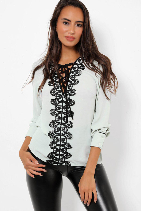 Contrast Crochet Lace Detail Mint Blouse