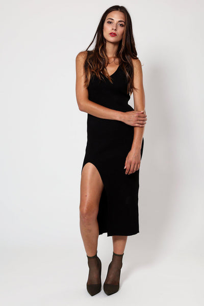 Black Knitted V-Neck Ribbed Dress-SinglePrice