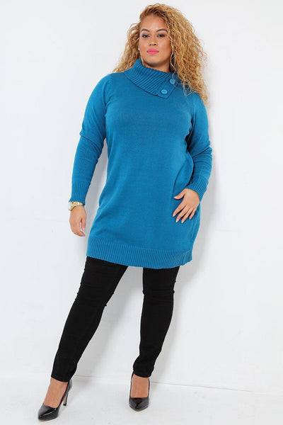 Buttoned Turtle Neck Blue Knitted Dress-SinglePrice
