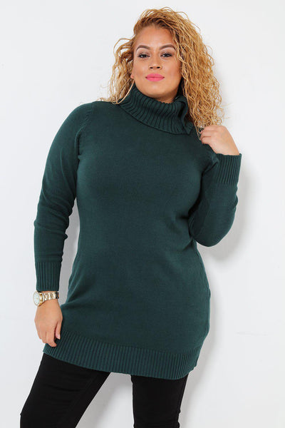 Buttoned Turtle Neck Green Knitted Dress-SinglePrice