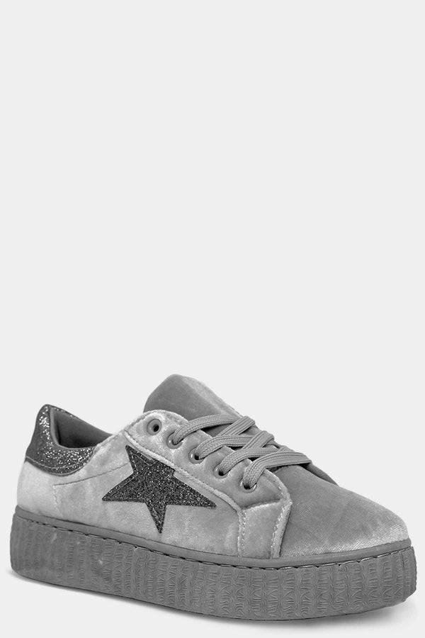 Grey Glitter Panels And Star Lace Up Velour Shoes - SinglePrice
