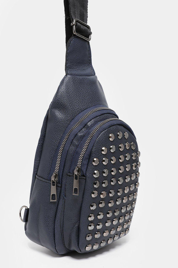 Studded Front Pocket Navy One Shoulder Backpack-SinglePrice